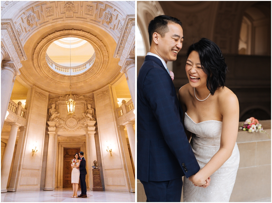 Couple laugh during their San Francisco City Hall wedding in the rotunda