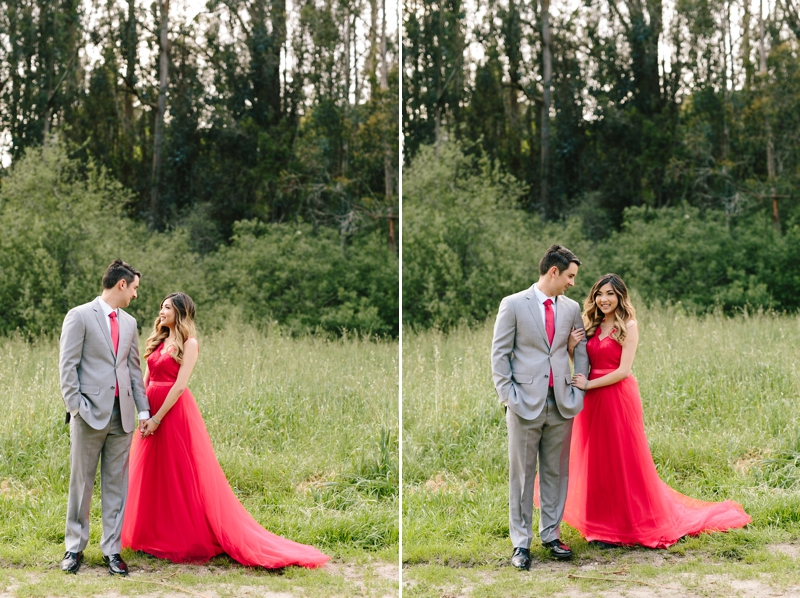 Beautiful red dress one year anniversary session / engagement session / Half Moon Bay photographer / magical fairyland engagement photos // SimoneAnne.com