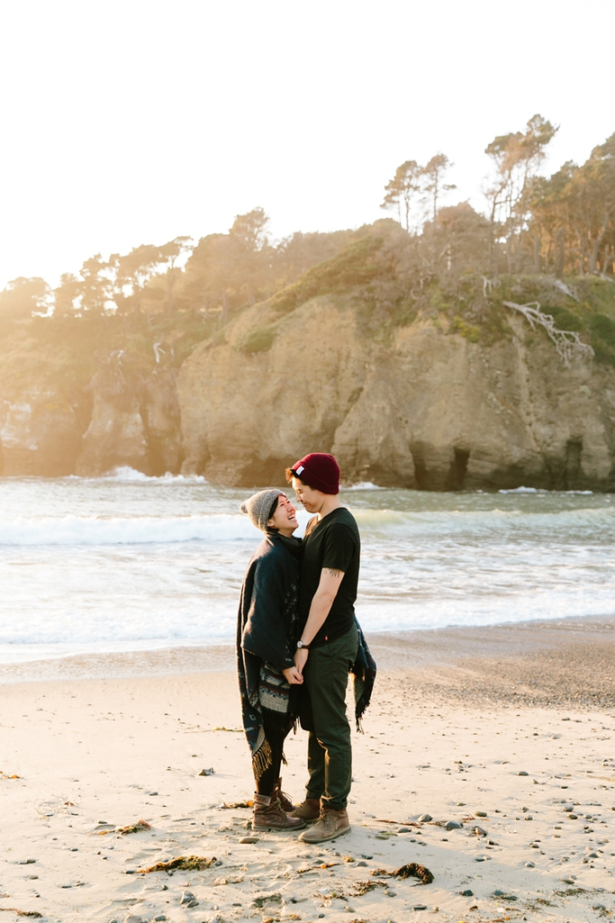 Dramatic and dreamy sunset California engagement photos in Jenner, California - Destination wedding photographer, San Francisco wedding photographer, Simone Anne // SimoneAnne.com