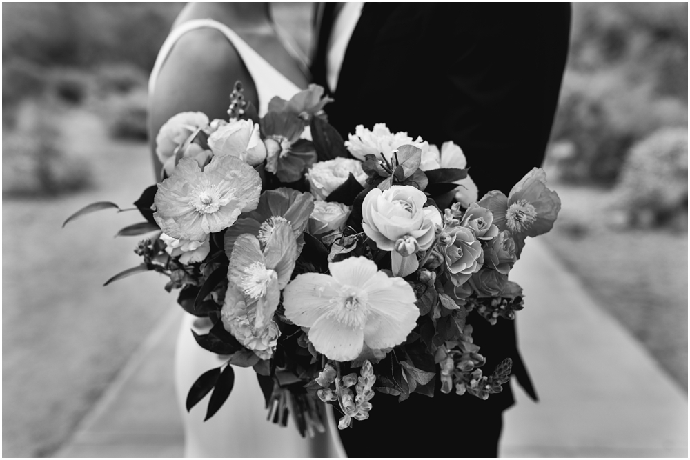 Wedding bouquet in black and white