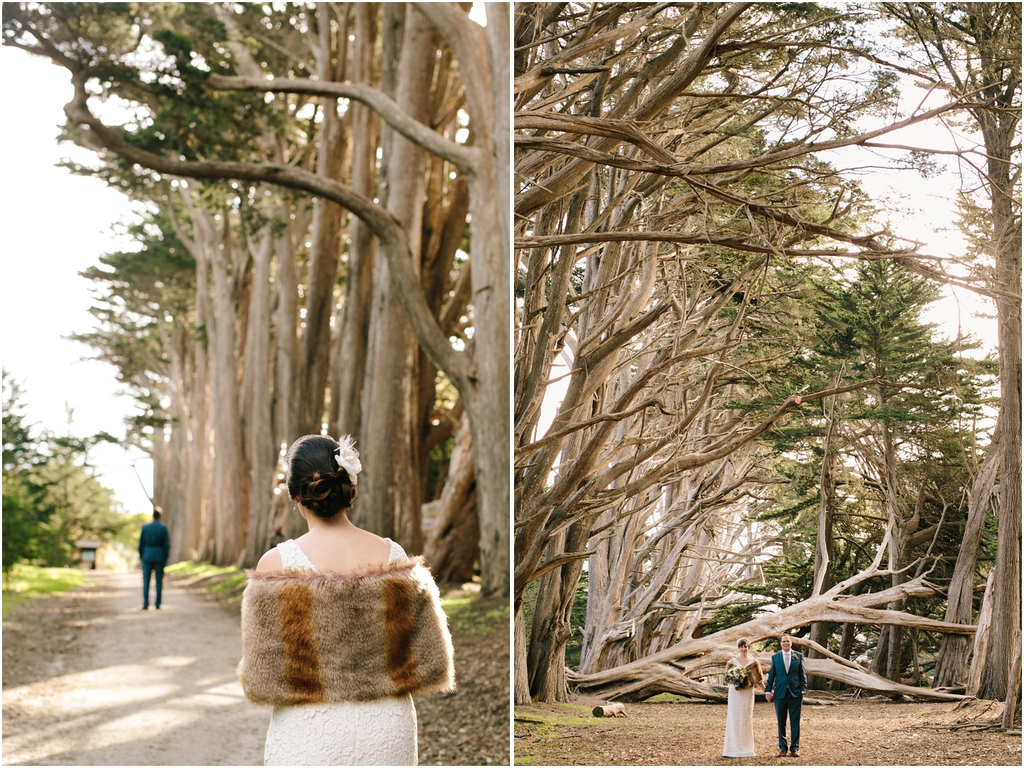 Bride walks towards groom in the trees - Should We Have a First Look