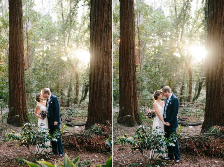 Stern Grove wedding portraits in the redwoods of bride and groom