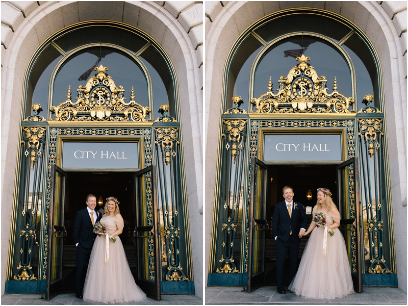 Couple stands outside in front of San Francisco City Hall after they get married inside